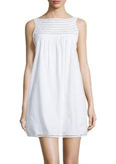 Susana Monaco Perforated Trim Sleeveless Babydoll Dress, Sugar