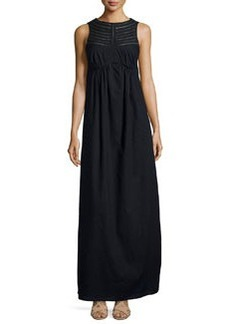 Susana Monaco Perforated-Trim Sleeveless Maxi Dress, Black