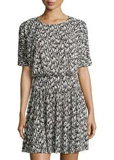 Susana Monaco Printed Short-Sleeve Dolman Dress, Black