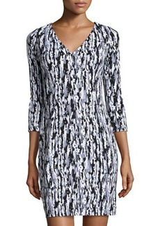 Susana Monaco Printed V-Neck Long-Sleeve Dress