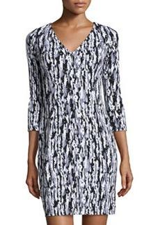 Susana Monaco Printed V-Neck Long-Sleeve Dress, Stone