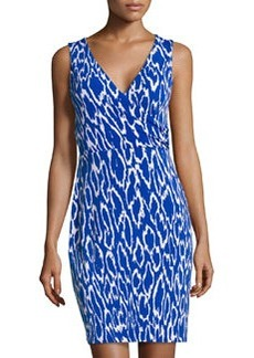 Susana Monaco Printed V-Neck Wrap Dress, Sapphire