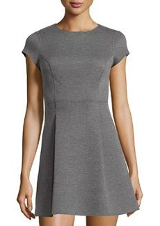 Susana Monaco Scuba Reversible Round-Neck Dress, Gray Melange/Black