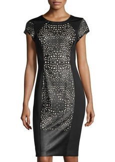 Susana Monaco Short-Sleeve Cutout Scuba/Faux-Leather Dress