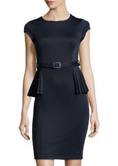 Susana Monaco Short-Sleeve Peplum Pencil Dress, Midnight