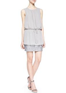 Susana Monaco Sleeveless Crewneck Dress W/ Sequined Skirt