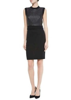 Susana Monaco Sleeveless Dress with Faux Leather Front