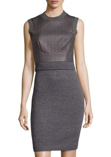 Susana Monaco Sleeveless Quilted Faux-Leather Dress