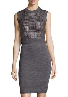 Susana Monaco Sleeveless Quilted Faux-Leather Dress, Pigeon