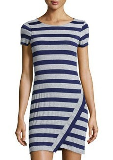 Susana Monaco Striped Asymmetric-Hem Dress, Ink Well