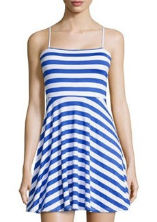 Susana Monaco Striped Fit-and-Flare Sleeveless Dress, Topaz/Sugar