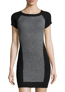 Susana Monaco Sweater-Knit Short-Sleeve Dress, Sidewalk Melange
