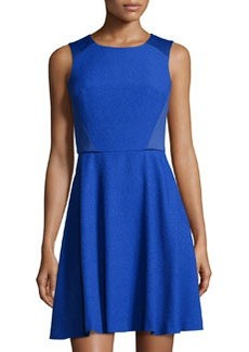 Susana Monaco Textured Sleeveless Fit-and-Flare Dress, Nocturnal