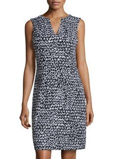 Susana Monaco Triangle-Print V-Neck Sleeveless Dress, Black