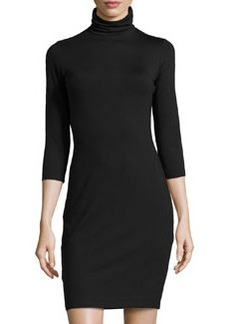 Susana Monaco Turtleneck 3/4-Sleeve Dress, Black