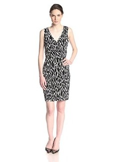 Susana Monaco Women's Abstract Animal Print Wrap Tank 20 Inch Dress, Black, X-Small