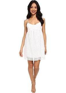 Susana Monaco Women's Circle Embroidery String Eyelet 18 Inch Dress, Sugar, 6