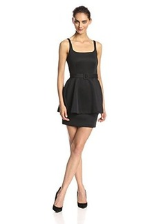 Susana Monaco Women's Guiletta Belted Short Sleeve 20 Inch Fit and Flare Dress, Black, 4
