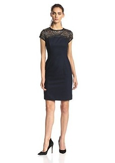 Susana Monaco Women's Madeline Lace Yoke Cap-Sleeve Sheath Dress