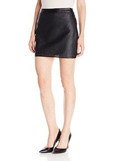 Susana Monaco Women's Perforated Leather Norma 17 Inch Skirt