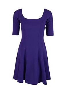 Susana Monaco Womens Purple Half Sleeve Flared Stretch Dress S