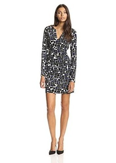 Susana Monaco Women's Rectangle Print Long-Sleeve A-Line Dress