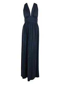 Susana Monaco Womens Slate Gray Cross Back V Neck Maxi Dress S