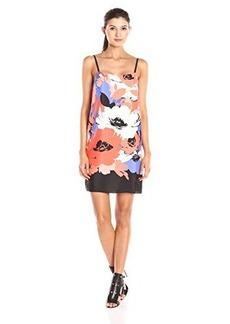 Susana Monaco Women's Slip Dress Poppy Print, Glacier, 6