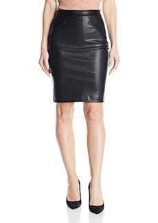 Susana Monaco Women's Stretch Leather Construction Side Zip 21 Inch Skirt