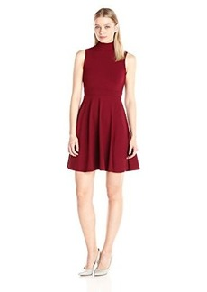 Susana Monaco Women's Supplex Augusta Mockneck Sleeveless Dress, Beaujolais, Medium