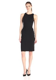 Susana Monaco Women's Supplex Back Twist 24 Inch Fitted Dress, Black, Large