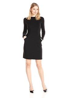 Susana Monaco Women's Supplex Celine Long Sleeve Dress, Black, Large