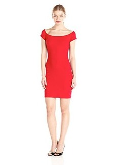 Susana Monaco Women's Supplex Keira Short Sleeve Dress, Perfect Red, Large