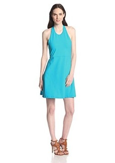 Susana Monaco Women's Supplex Vanessa 18 Inch Halter Fit and Flare Dress, Surf, Large