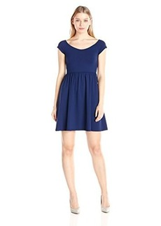 Susana Monaco Women's Supplex Veronica Short Sleeve Dress, Inkwell, Large