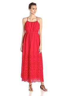 Susana Monaco Women's Tear Drop Eyelet Embroidery Nina 40 Inch Maxi Dress, Radish, 8