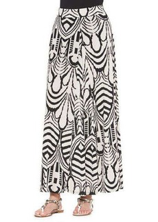 T Bags Abstract-Print Pleated Maxi Skirt