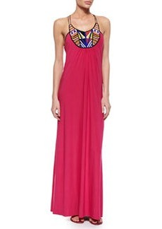 T-Bags Bead-Embellished Maxi Dress, Fuchsia