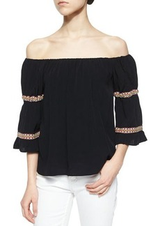 T Bags Boho Off-the-Shoulder Knit Blouse, Black