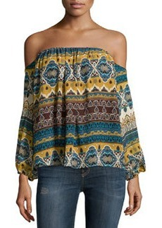 T Bags Chiffon Multipattern Off-the-Shoulder Top, Yellow/Blue