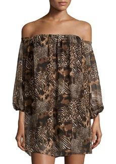 T Bags Chiffon Off-the-Shoulder Animal-Print Shift Dress, Brown