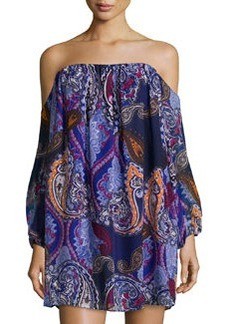 T Bags Chiffon Off-the-Shoulder Paisley-Print Shift Dress, Blue