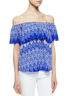 T Bags Geometric Flutter-Sleeve Blouse, Blue/White