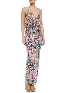 T Bags Knotted Feather Maxi Dress, Multicolor