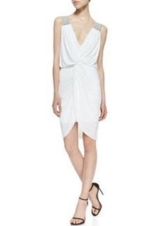 T Bags Knotted-Front Woven-Trim Dress, White