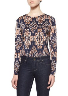 T Bags Long-Sleeve Tribal-Print Top