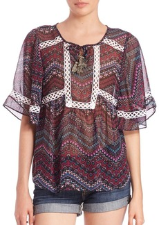 T-bags Los Angeles Chiffon Lace-Trimmed Top