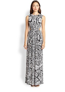 T-bags Los Angeles Cutout Printed Stretch Jersey Maxi Dress