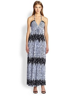 T-bags Los Angeles Deep V -Neck Printed Maxi Dress
