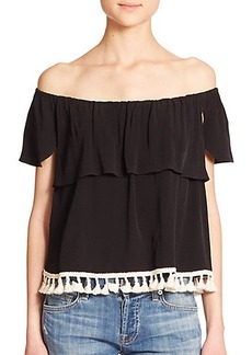 T-bags Los Angeles Off-The-Shoulder Tassel Top